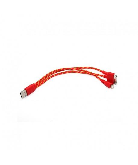 Cable tressé 3 en 1 iPhone 4 iPhone 5 et Micro USB
