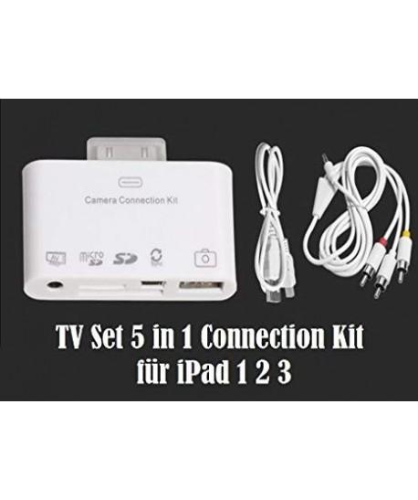 Kit de connexion appareil photo  USB2   Lecteur de carte SD  AV Sortie audio vidéo Câble RCA  TV Sync
