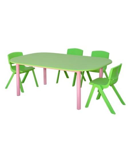 TABLE MATERNELLE OVALE TOP PVC 150X95X65cm
