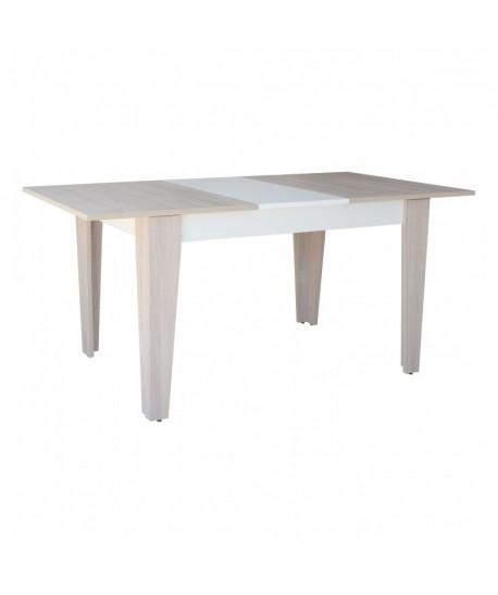 TABLE SALLE A MANGER EXTENSIBLE 130-170X90cm CHENE BRUT BLANC