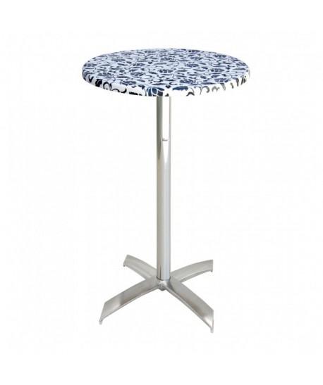 TABLE PIZZERIA D70 WZ DECOR SOCLE ALUMINIUM EN X