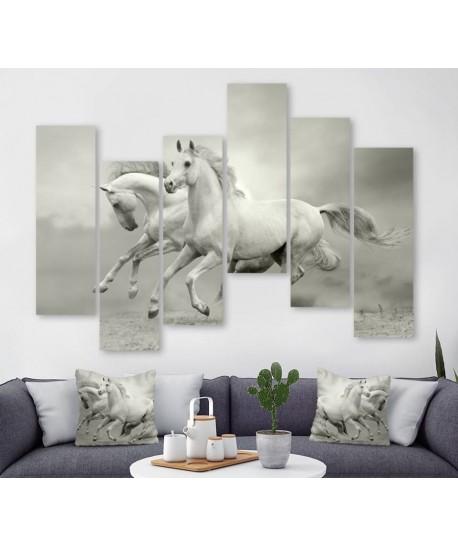Tableau décoratif chevaux Blanc  REF : TS0.32